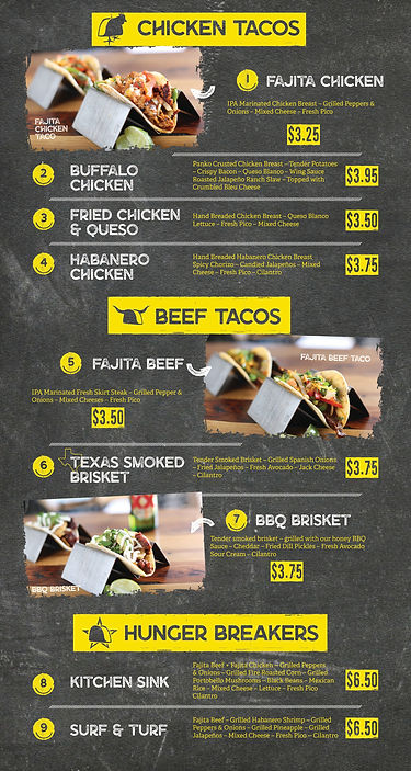 Happy Taco Bar Garland Menu | Chicken Tacos, Beef Tacos, Fajita, BBQ Brisket, Surf & Turf