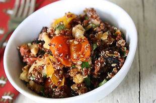 Red quinoa, roasted cherry tomatoes, oil