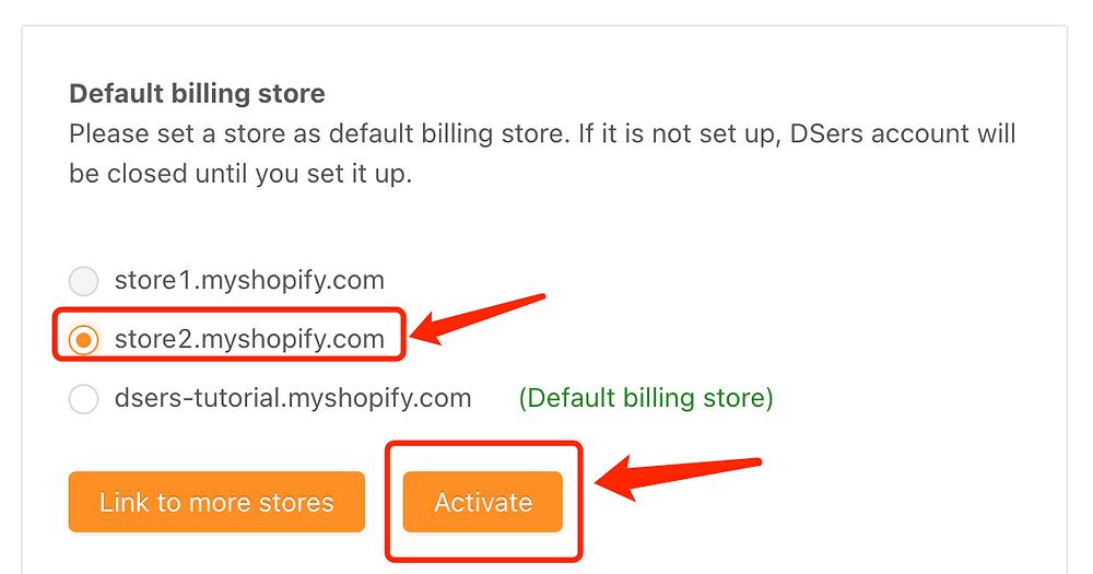 Change default billing store - Select new default billing store - DSers