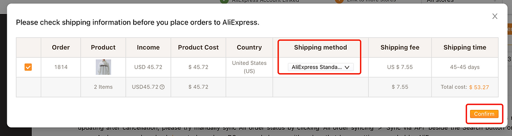 Re-order AliExpress canceled orders on Woo DSers - Choose Shipping method - Woo DSers