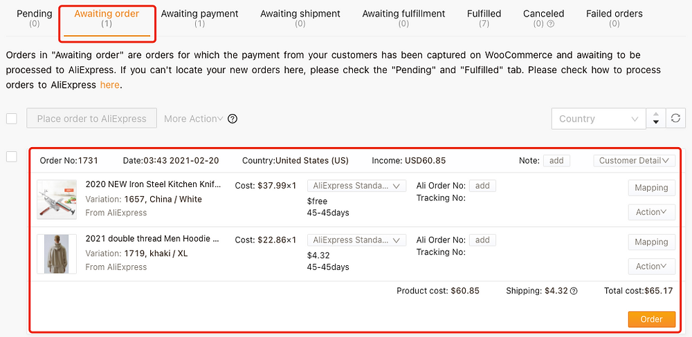 Cancel fulfillment of an order on WooCommerce with Woo DSers - Awaiting order tab - Woo DSers