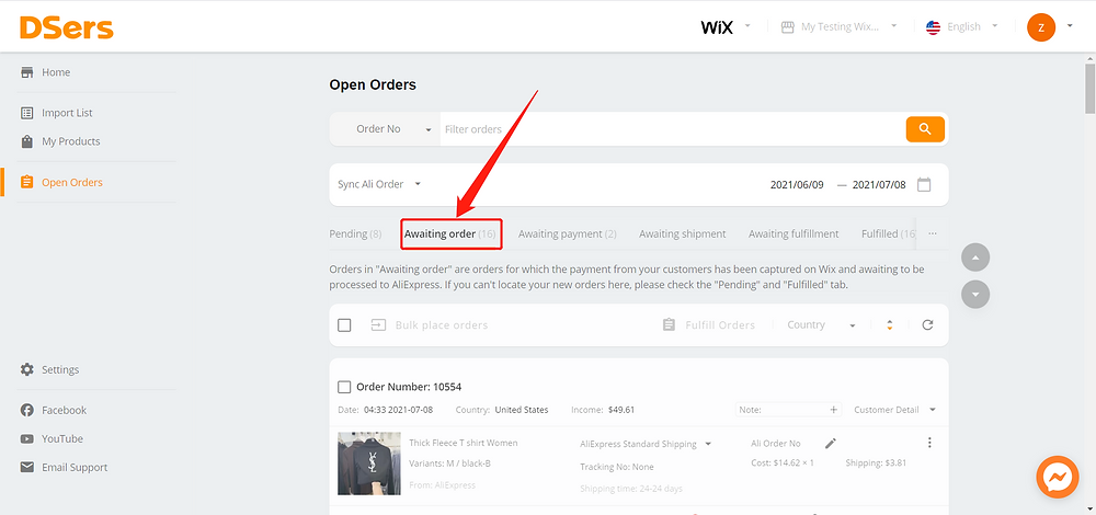 Pending orders introduction for Wix DSers - Awaiting order - Wix DSers