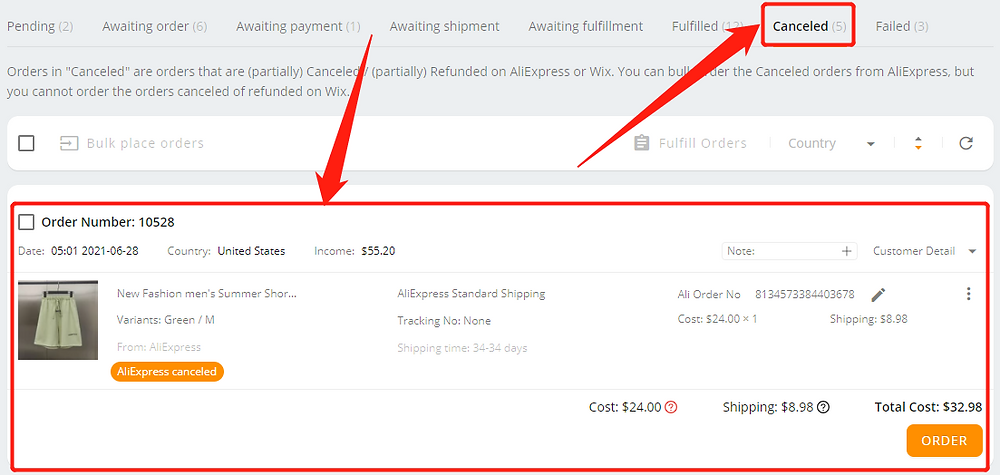 Re-order Awaiting payment orders with Wix DSers - canceled tab - Wix DSers