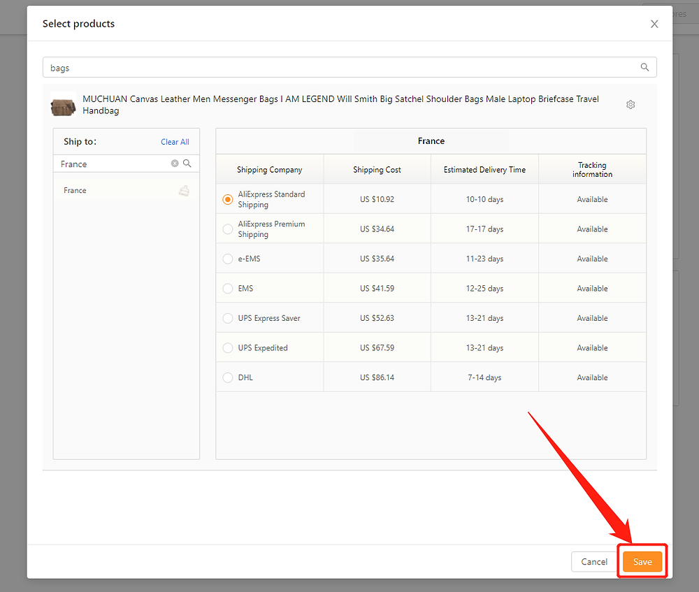 Set shipping method for specific product with DSers - Click Save - DSers