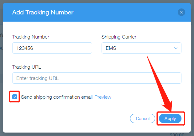 Send tracking number manually with Wix DSers - apply changes - Wix DSers