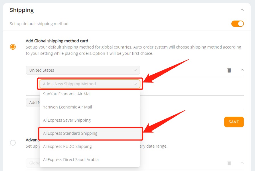 Set shipping method for all products with Wix DSers - select shipping methods - Wix DSers