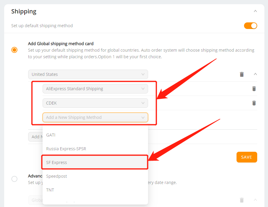 Set shipping method for all products with Wix DSers - select multiple shipping methods - Wix DSers