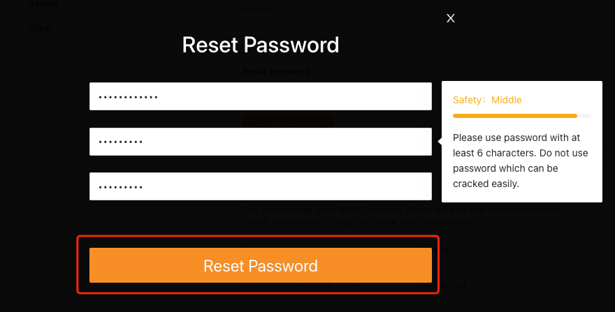 Change password with Woo DSers - Reset Password - Woo DSers