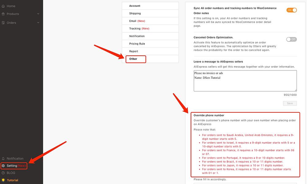 Substituir número de telefone do cliente com Woo DSers - 1 - Woo DSers