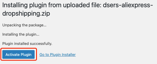 Manually install DSers on WordPress - activate plugin - Woo DSers