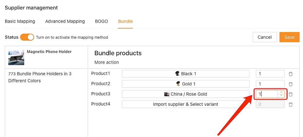 Create Bundles of products with Woo DSers - Set quantity of Rose Gold - Woo DSers