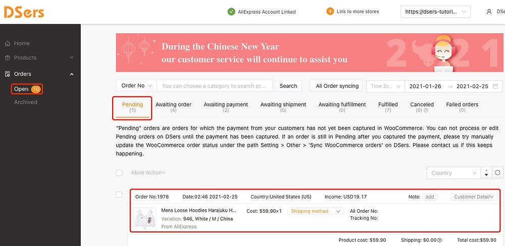 Pending orders introduction with Woo DSers - Pending tab - Woo DSers