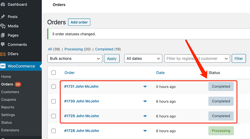 Fulfill orders manually on WooCommerce with Woo DSers - Orders marked as completed - Woo DSers