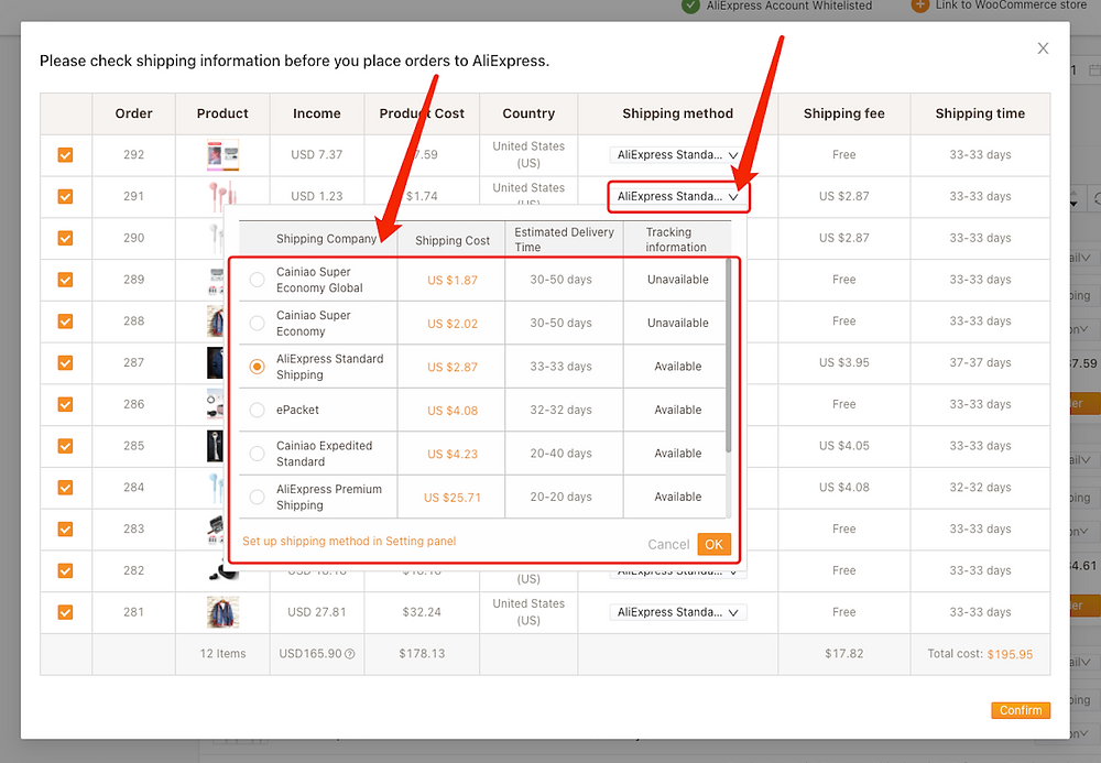 Fulfill multiple orders from start to finish with Woo DSers - Change shipping method - Woo DSers