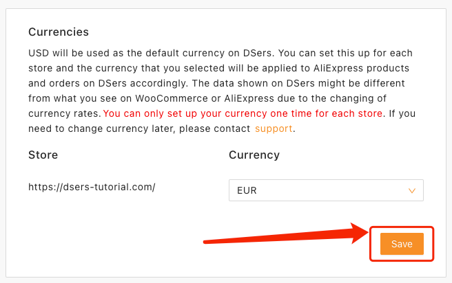Change and set currency on Woo DSers - Save changes - Woo DSers