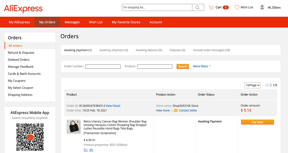 Synchronize AliExpress orders status in Woo DSers - AliExpress Orders page - Woo DSers