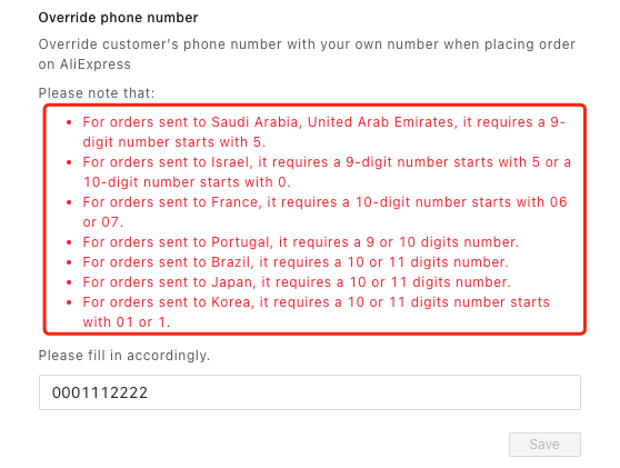 Customer phone number override with Woo DSers - Be aware of the red notes - Woo DSers