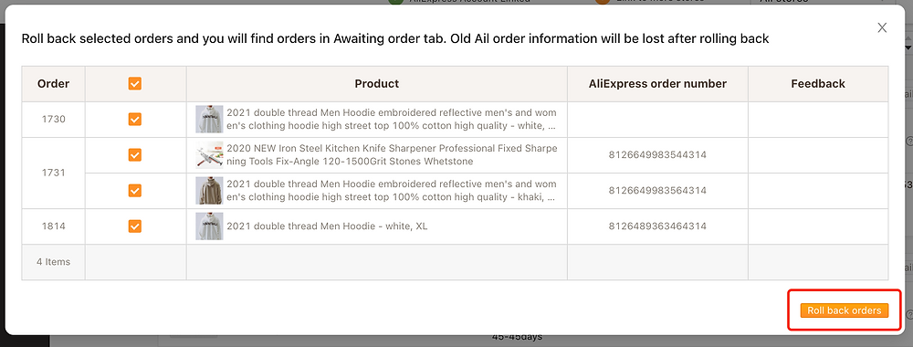 Re-order fulfilled orders on Woo DSers - Click on Roll back orders - Woo DSers