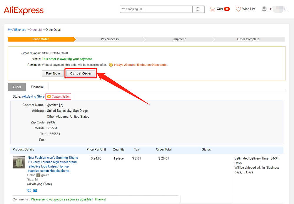 Re-order Awaiting payment orders with Wix DSers - cancel order - Wix DSers
