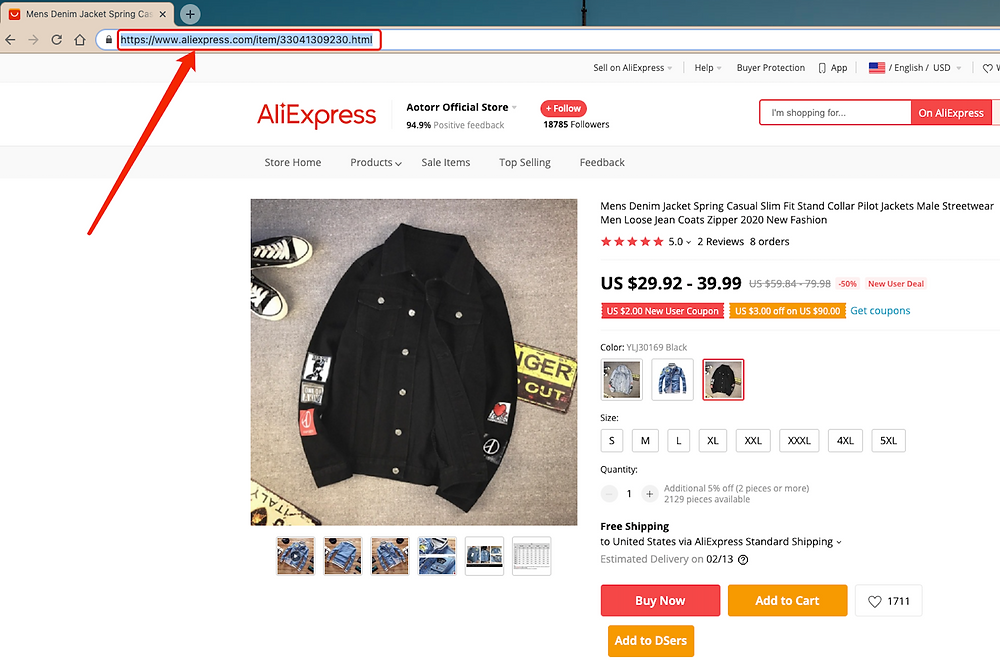 Add a variation to a product with Woo DSers - Copy new AliExpress URL - Woo DSers