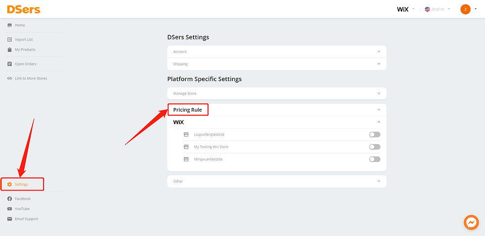 Pricing Rule with Wix DSers - Pricing Rule - Wix DSers