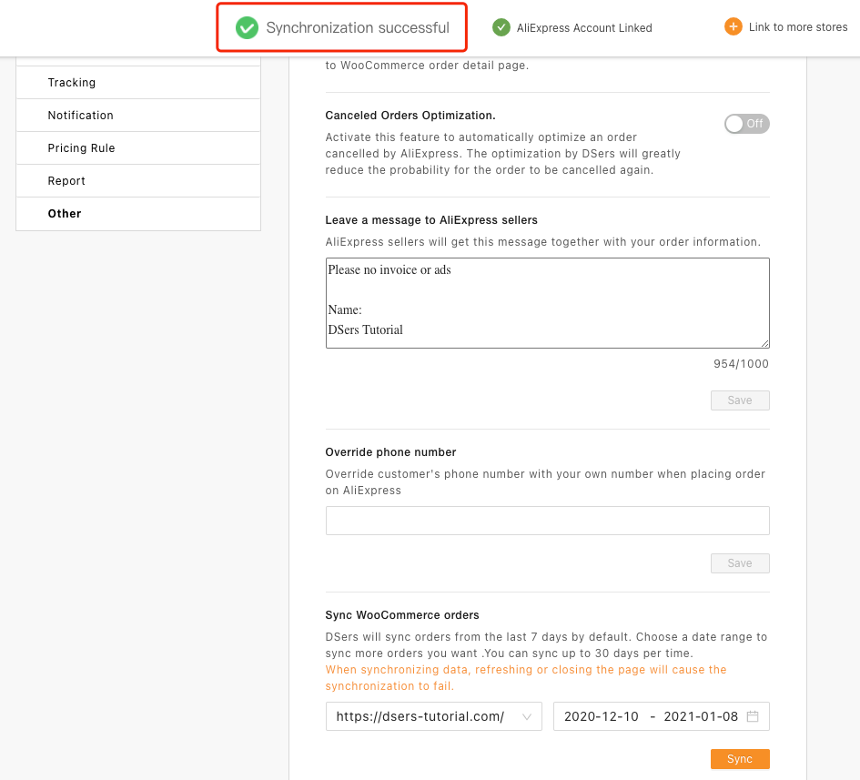 Synchronize WooCommerce orders to Woo DSers - Synchronization Successful - Woo DSers