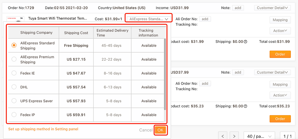 Order failure reasons with Woo DSers - Select Shipping method - Woo DSers