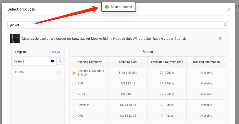 Set shipping method for specific product with Woo DSers - Save success - Woo DSers