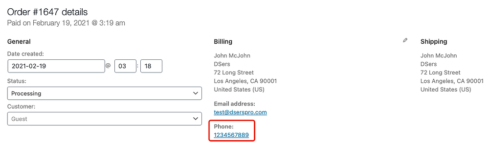 Customer phone number override with Woo DSers - Customer phone number on WooCommerce- Woo DSers