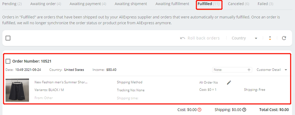 Fulfill orders manually on DSers - Fulfilled order - Wix DSers