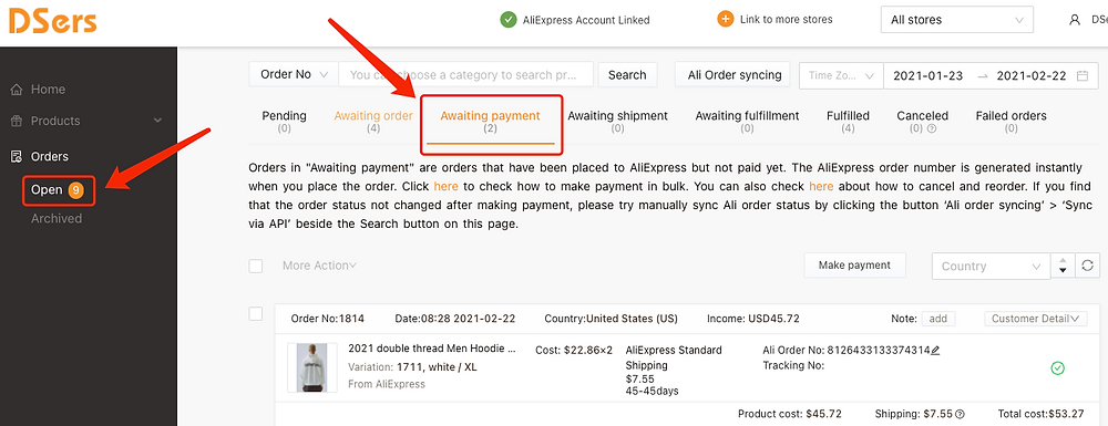 Re-order Awaiting payment orders on Woo DSers - Access Awaiting payment - Woo DSers