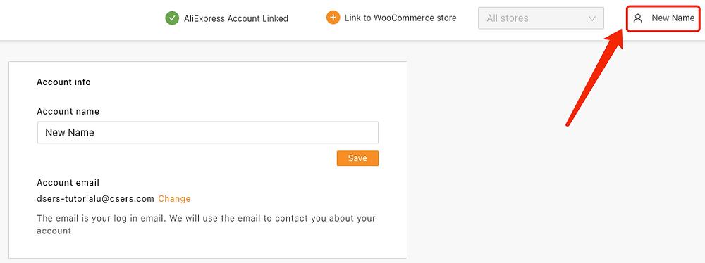Change account name with Woo DSers - New Account Name Display - Woo DSers