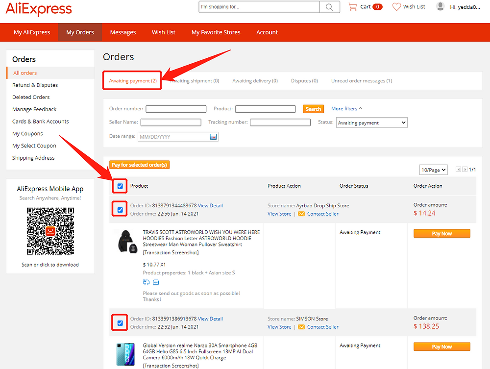 Pay multiple orders on AliExpress with Wix DSers - select orders - Wix DSers