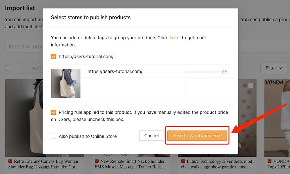 Enviar um produto a uma loja WooCommerce com Woo DSers - 6 - Woo DSers
