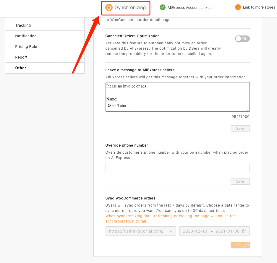 Sincronizar pedidos do WooCommerce com o Woo DSers - 7 - Woo DSers