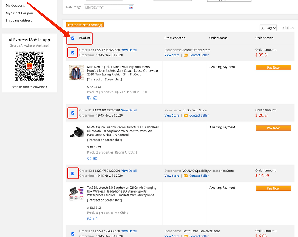Pay multiple orders on AliExpress with Woo DSers - Select all orders - Woo DSers