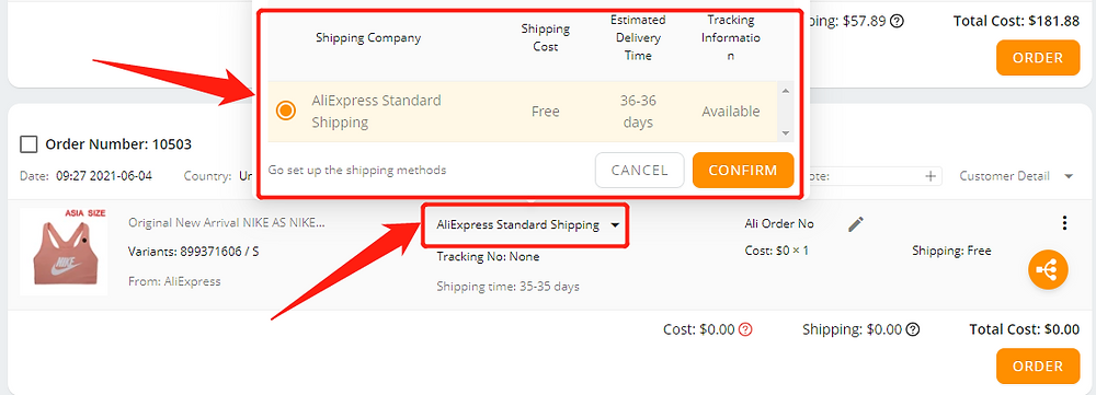 Order failure reasons with Wix DSers - choose a shipping method - Wix DSers
