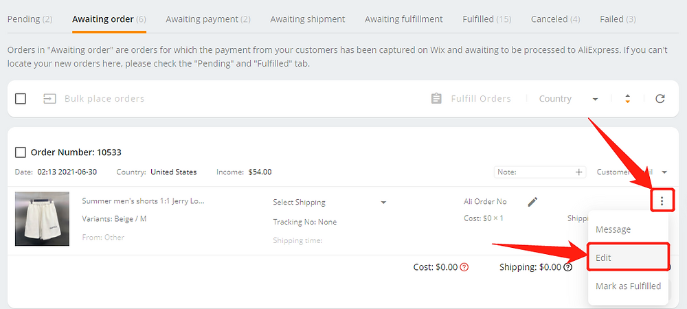 Re-order an order with deleted product with Wix DSers - edit order - Wix DSers