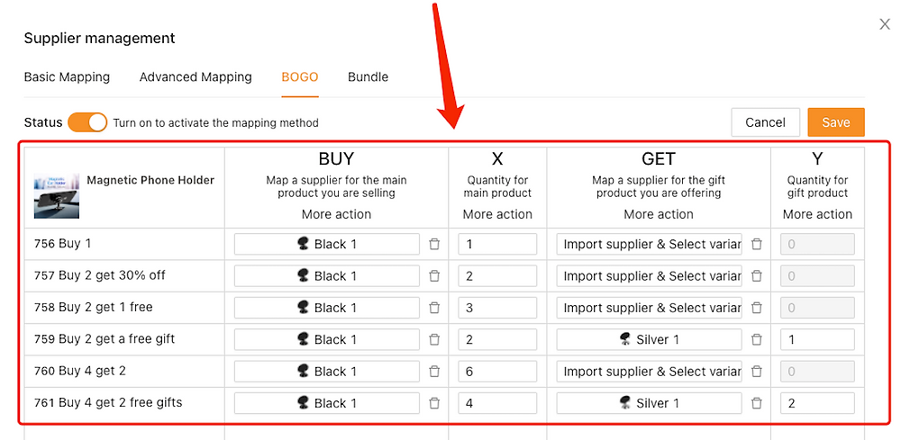 Basic Mapping Advanced Mapping BOGO Introduction with Woo DSers - Buy one get one free - Woo DSers
