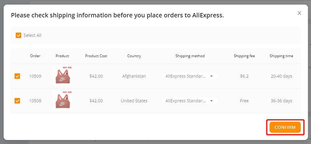 Place multiple orders from Wix to AliExpress with Wix DSers - confirm - Wix DSers