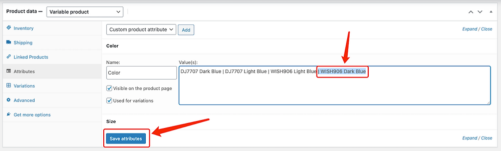 Add a variation to a product with Woo DSers - Save attributes - Woo DSers