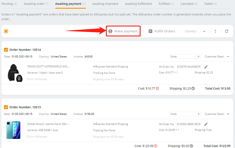Pay multiple orders on AliExpress with Wix DSers - make payment - Wix DSers