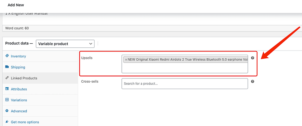 Edit a product on WooCommerce with Woo DSers - Upsells - Woo DSers