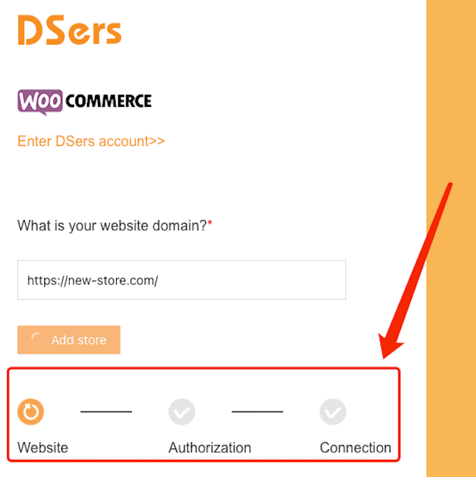 Add a WooCommerce store with Woo DSers - Linking process - Woo DSers