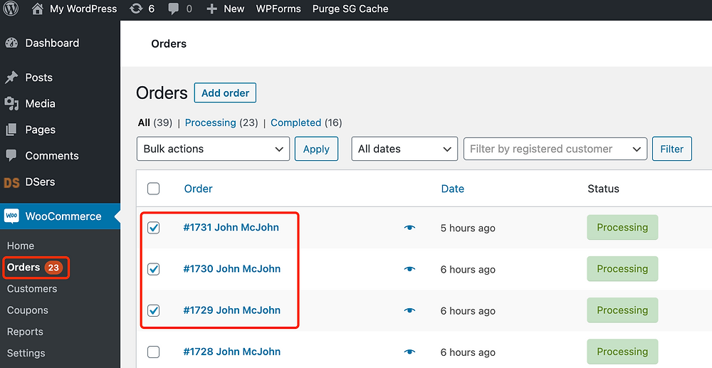 Fulfill orders manually on WooCommerce with Woo DSers - Select multiple orders - Woo DSers