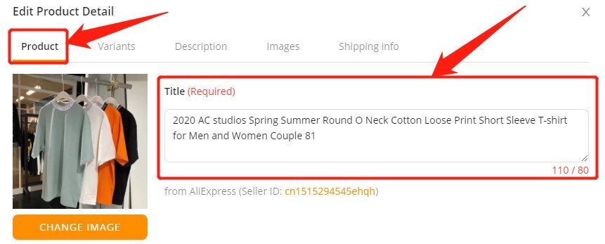 Edit a product on DSers with Wix DSers - product tab - Wix DSers