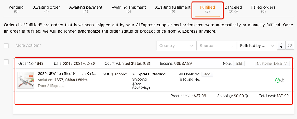 Fulfill orders manually on WooCommerce with Woo DSers - Fulfilled tab - Woo DSers