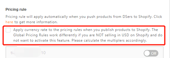 Basic Pricing Rule with DSers - apply currency rate - DSers