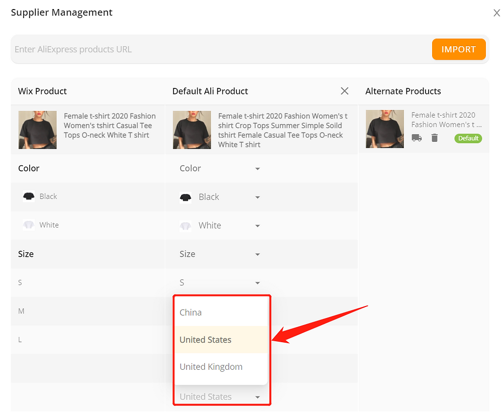 Remove Ships From of a product with Wix DSers - set default country - Wix DSers