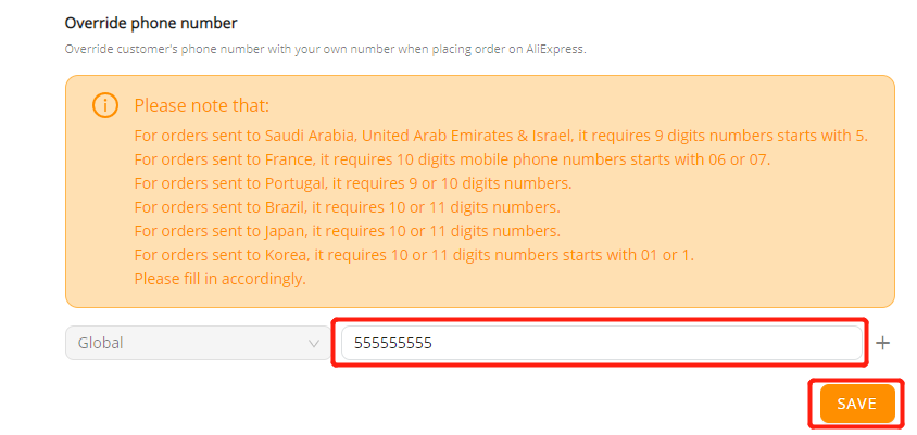 Orders to Saudi Arabia & UAE  specifications with Wix DSers - Enter phone number - Wix DSers